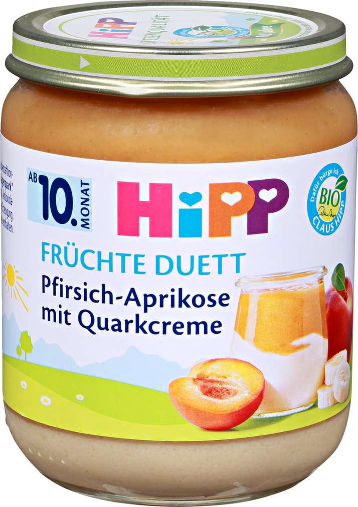 Abbildung des Sortimentsartikels Hipp Früchte Duett Pfirsich-Aprikose mit Quarkcreme 160g