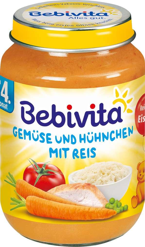 Abbildung des Sortimentsartikels Bebivita Gemüse und Hühnchen mit Reis 190g