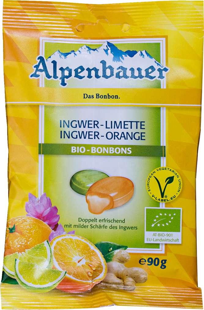 Abbildung des Sortimentsartikels Alpenbauer Ingwer-Limette & Ingwer-Zitrone Bio-Bonbons 90g