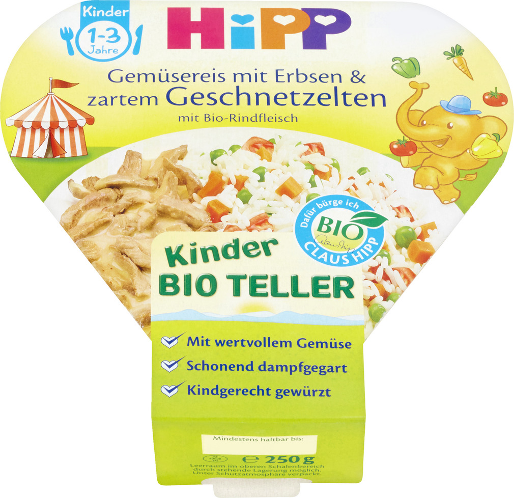 Abbildung des Sortimentsartikels Hipp Kinder Bio Teller Gemüsereis mit Erbsen&Geschnetzeltem 250g