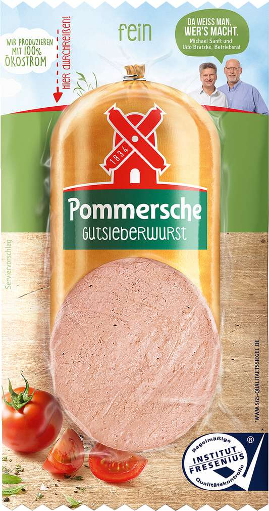Abbildung des Sortimentsartikels Rügenwalder Mühle Pommersche Gutsleberwurst fein 125g