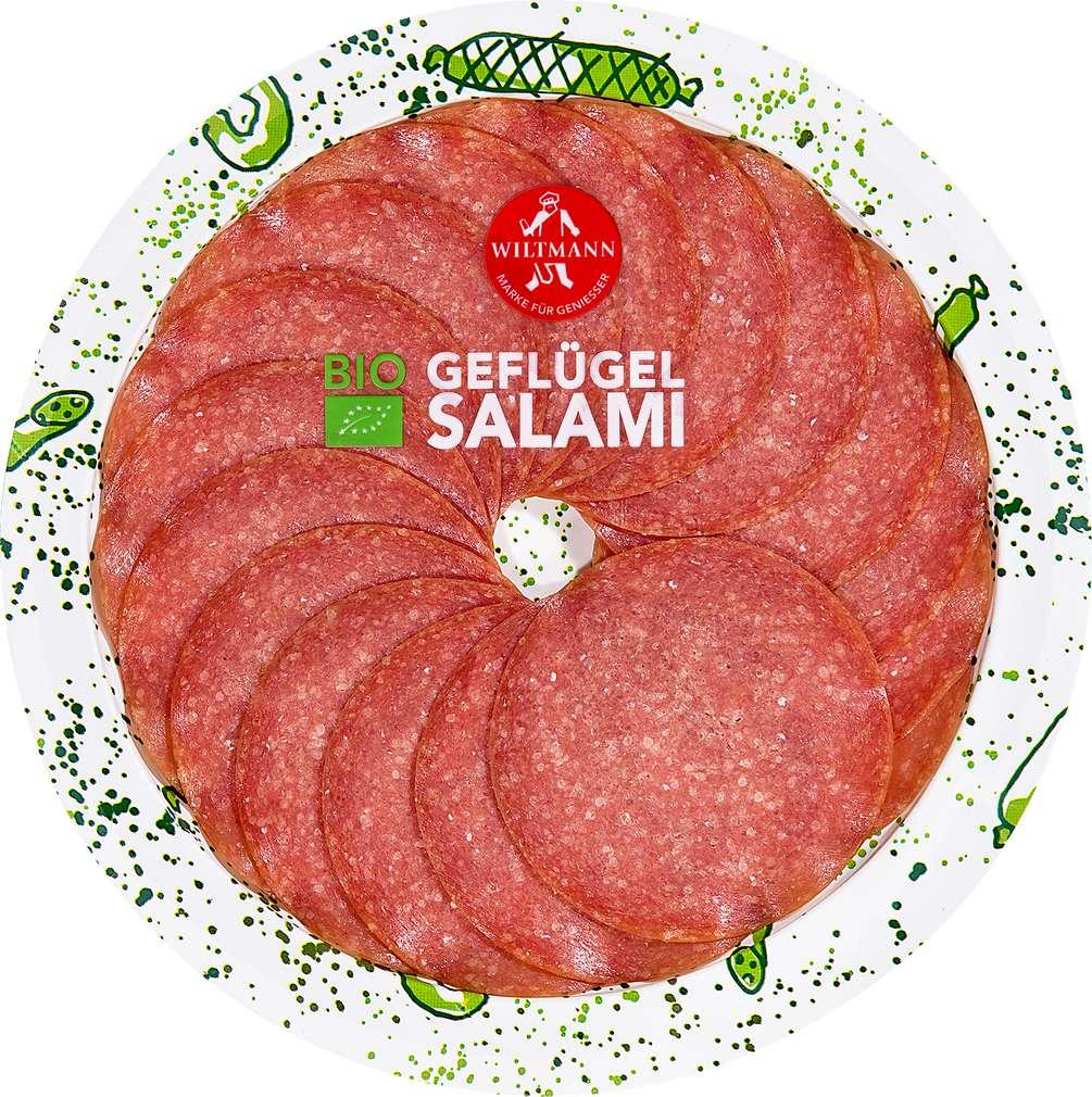 Abbildung des Sortimentsartikels Wiltmann Bio Geflügel Salami 80g