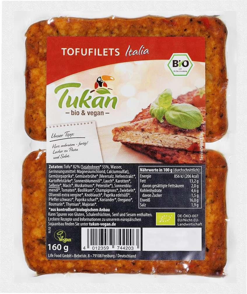 Abbildung des Sortimentsartikels Tukan Tofufilets Italia 160g