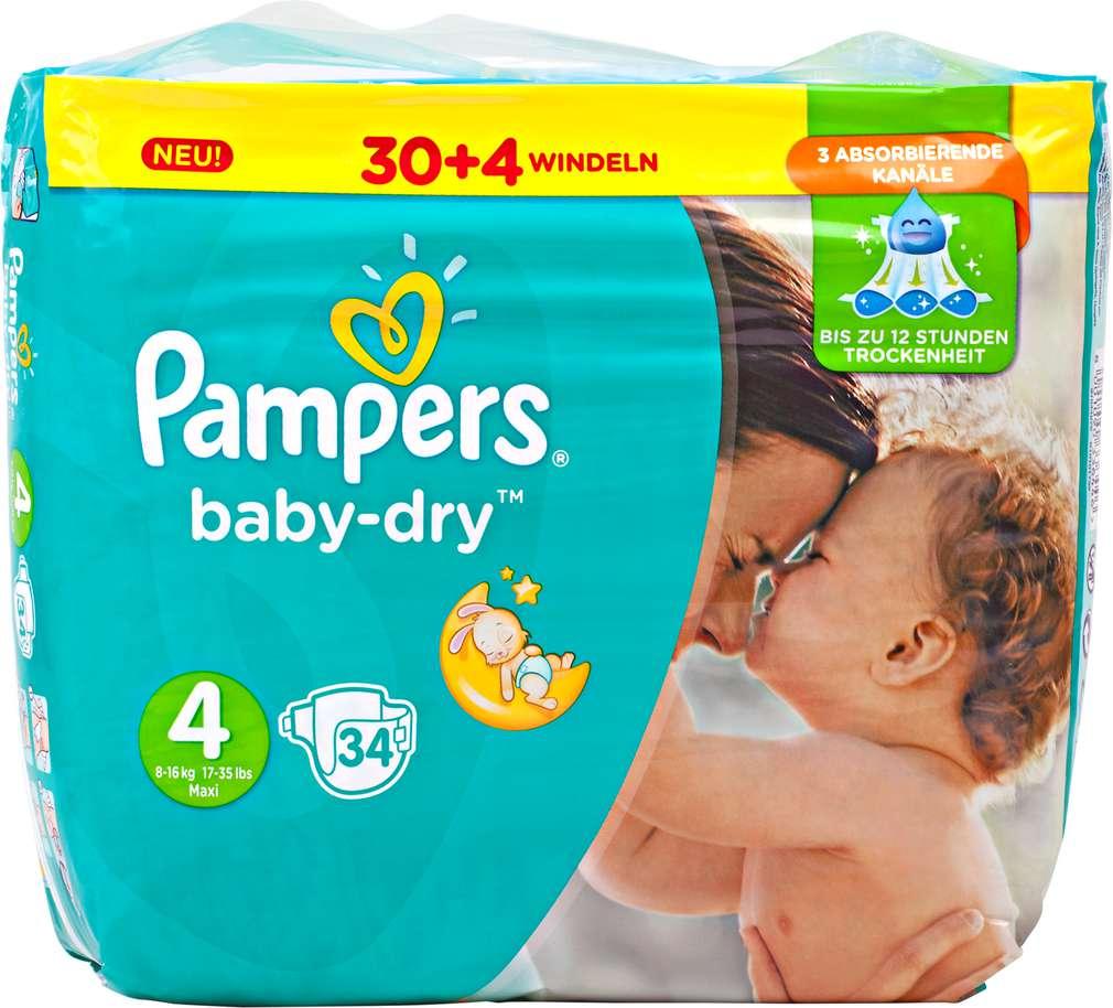 Abbildung des Sortimentsartikels Pampers Baby-Dry Windeln Größe 4 Maxi 34 Stück