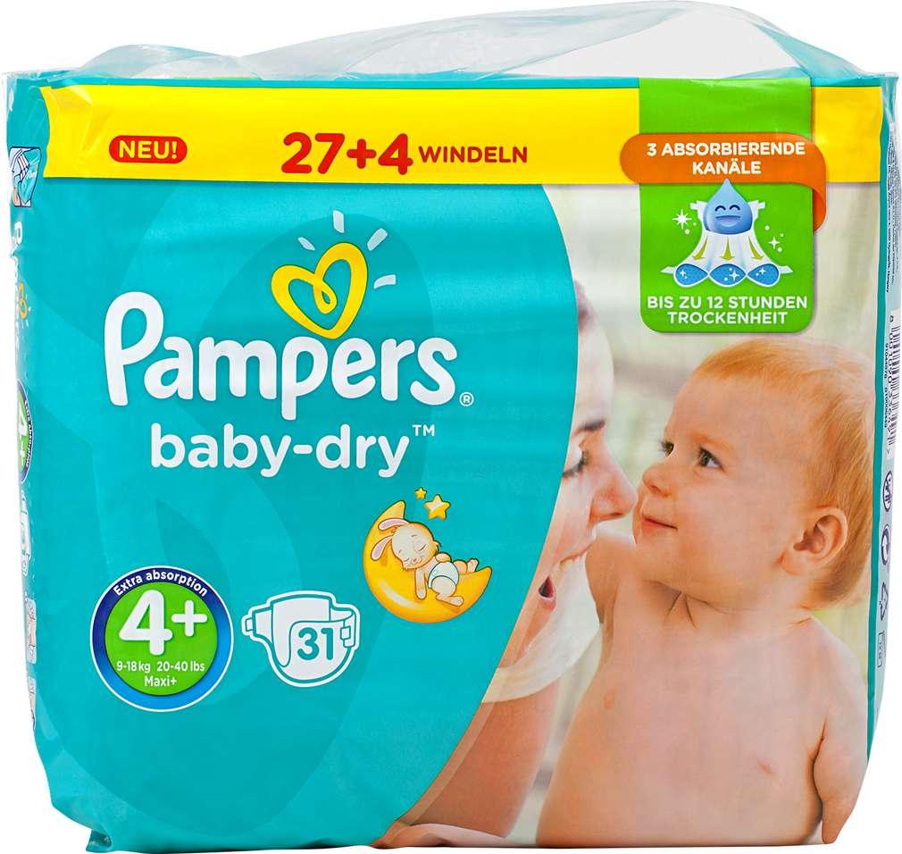 Abbildung des Sortimentsartikels Pampers Baby-Dry Windeln Größe 4+ Maxi 31 Stück