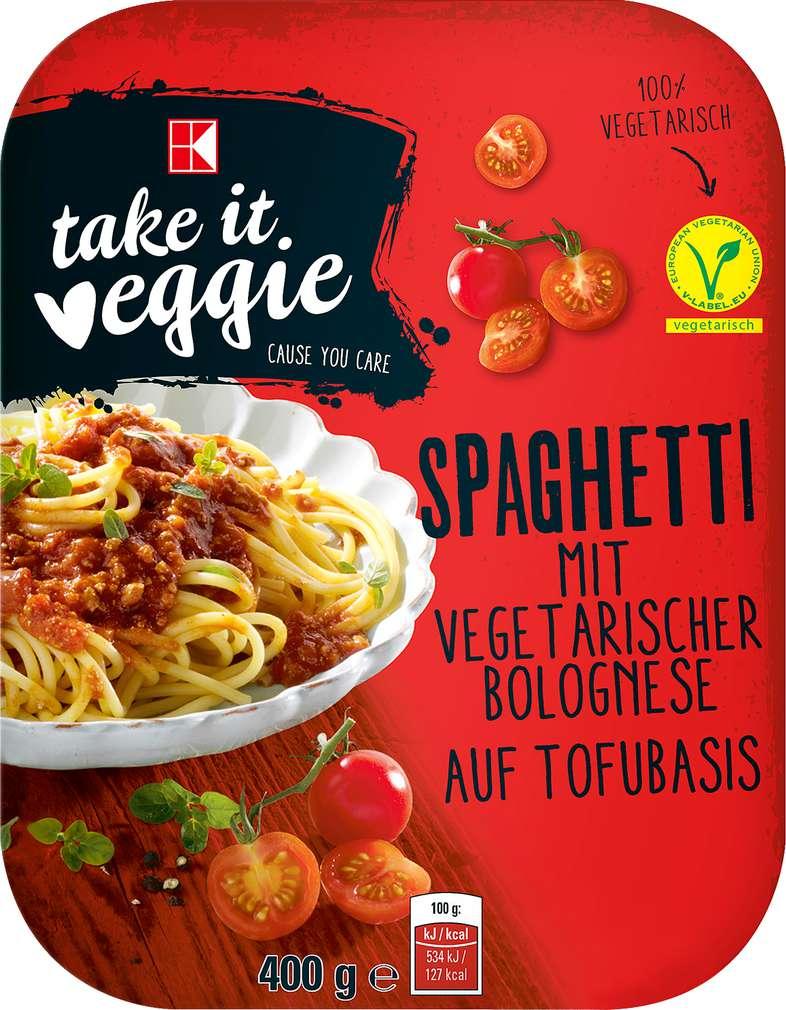 Abbildung des Sortimentsartikels K-Take it Veggie Spaghetti mit vegetarischer Bolognese auf Tofubasis 400g