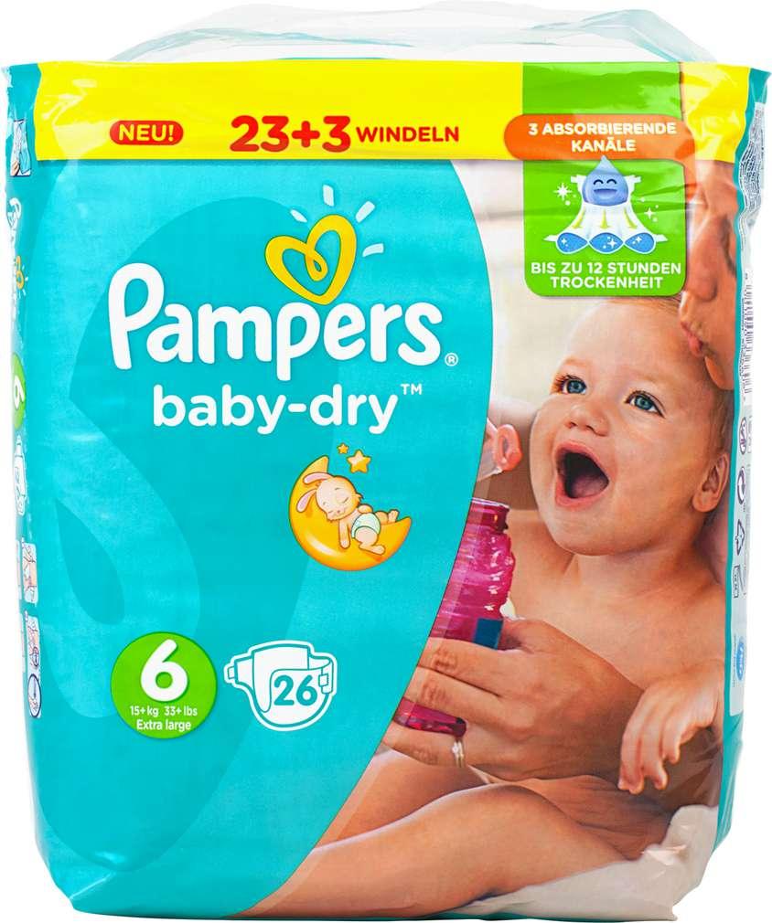 Abbildung des Sortimentsartikels Pampers Baby-Dry Windeln Größe 6 Extra Large 26 Stück