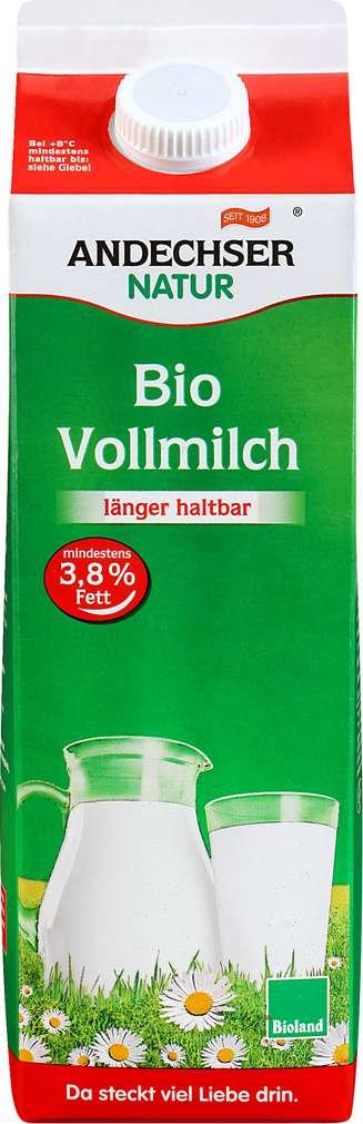 Abbildung des Sortimentsartikels Andechser Natur Bio Vollmilch 3,8% 1l