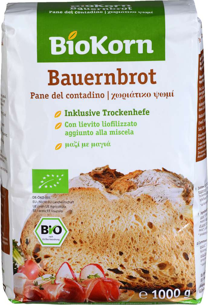 Abbildung des Sortimentsartikels BioKorn Bauernbrot Backmischung 1000g