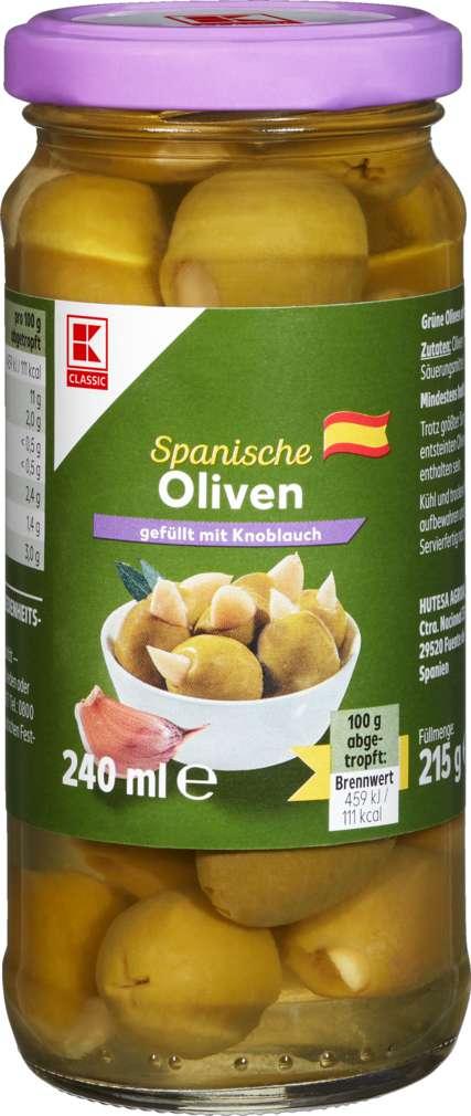 Abbildung des Sortimentsartikels K-Classic Oliven Manzanilla grün mit Knoblauch 215ml