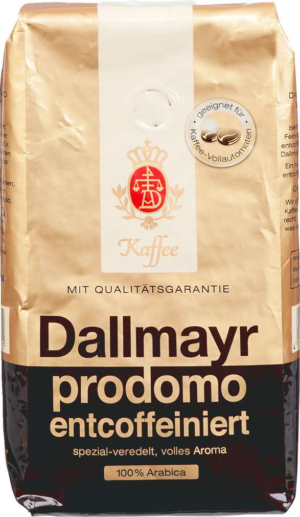 Abbildung des Sortimentsartikels Dallmayr Prodomo Ganze Bohne entcoffeiniert 500g