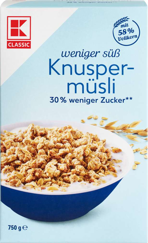 Abbildung des Sortimentsartikels K-Classic Knusper Müsli weniger süß 750g