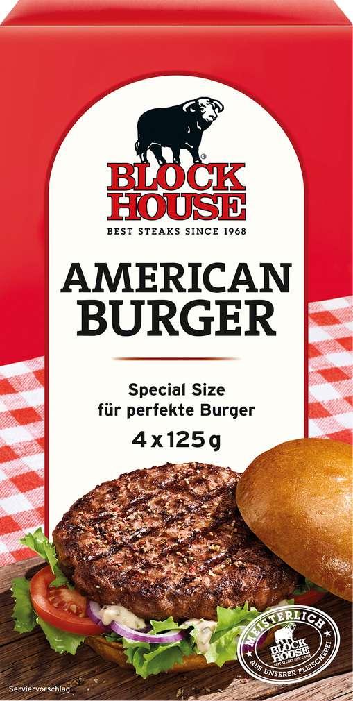 Abbildung des Sortimentsartikels Block House American Burger 500g, 4 Stück