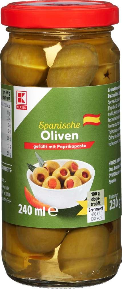 Abbildung des Sortimentsartikels K-Classic Grüne Oliven gefüllt mit Paprikapaste 240ml