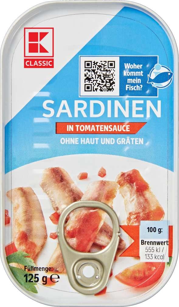 Abbildung des Sortimentsartikels K-Classic Sardinen ohne Haut und Gräten in Tomatensauce 125g