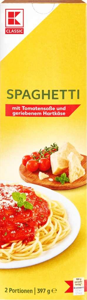 Abbildung des Sortimentsartikels K-Classic Spaghetti mit Tomatensauce und geriebenem Hartkäse