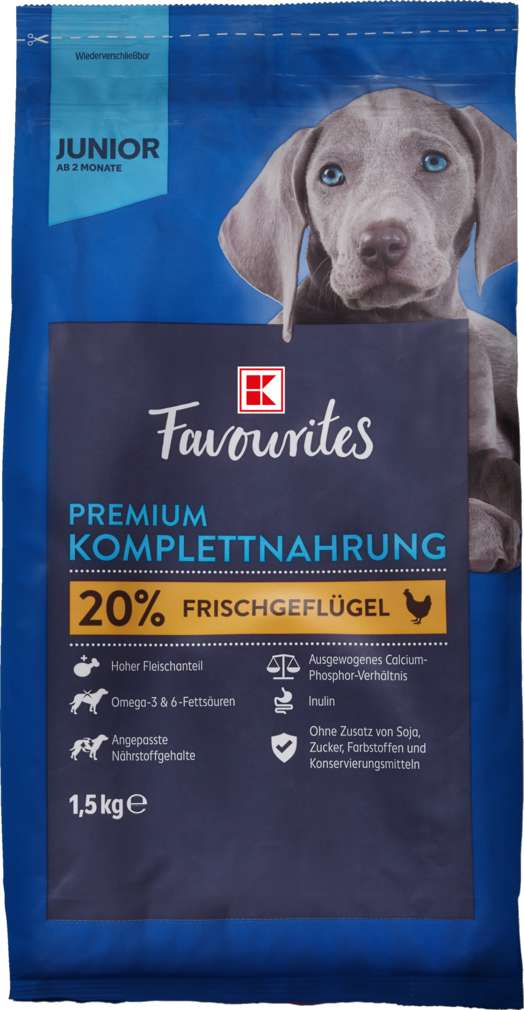 Abbildung des Sortimentsartikels K-Favourites Hundenahrung Premium Junior 1,5kg