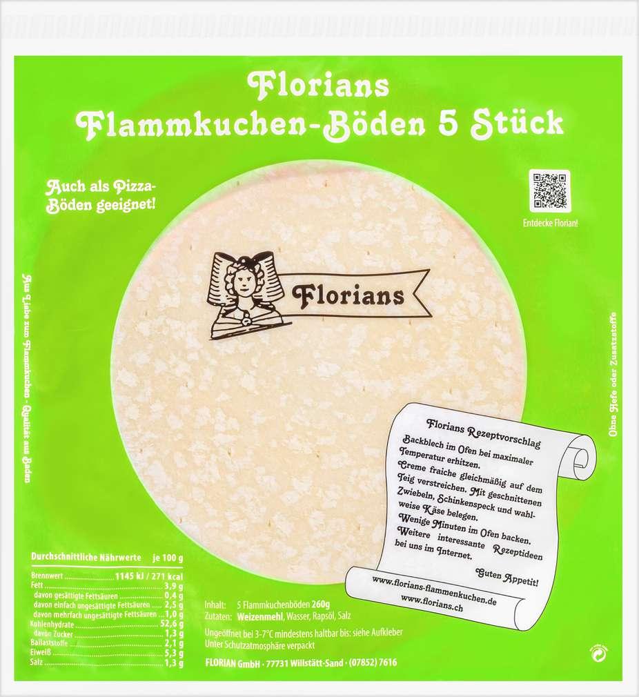 Abbildung des Sortimentsartikels Florian Flammkuchenböden 5 Stück 650g