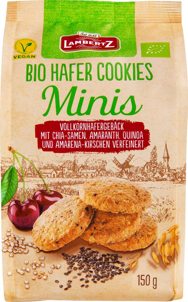 Abbildung des Sortimentsartikels Lambertz Bio Hafer-Mini-Cookie Kirsch 150g