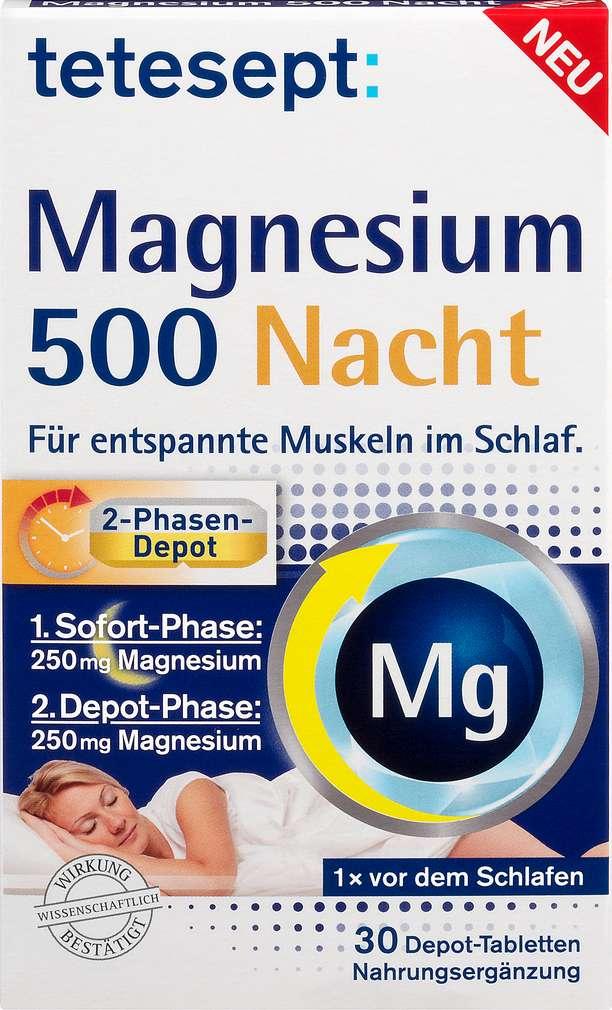 Abbildung des Sortimentsartikels Tetesept Magnesium 500 Nacht Tabletten 30 Stück