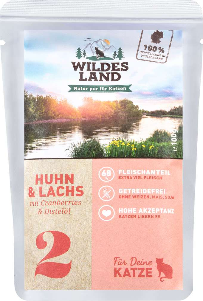 Abbildung des Sortimentsartikels Wildes Land Huhn & Lachs 100g