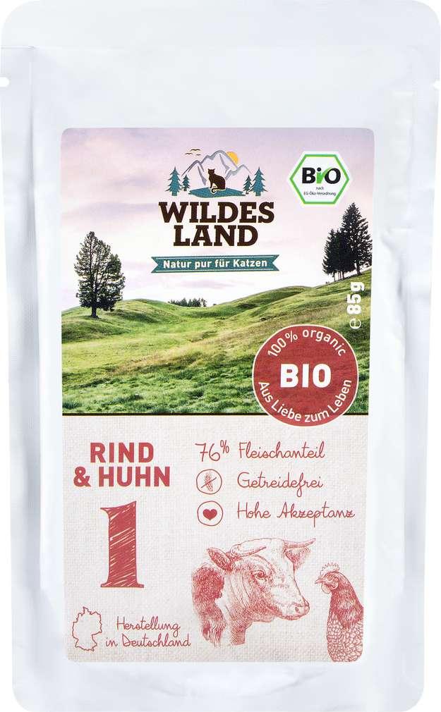 Abbildung des Sortimentsartikels Wildes Land Bio Rind & Huhn 85g