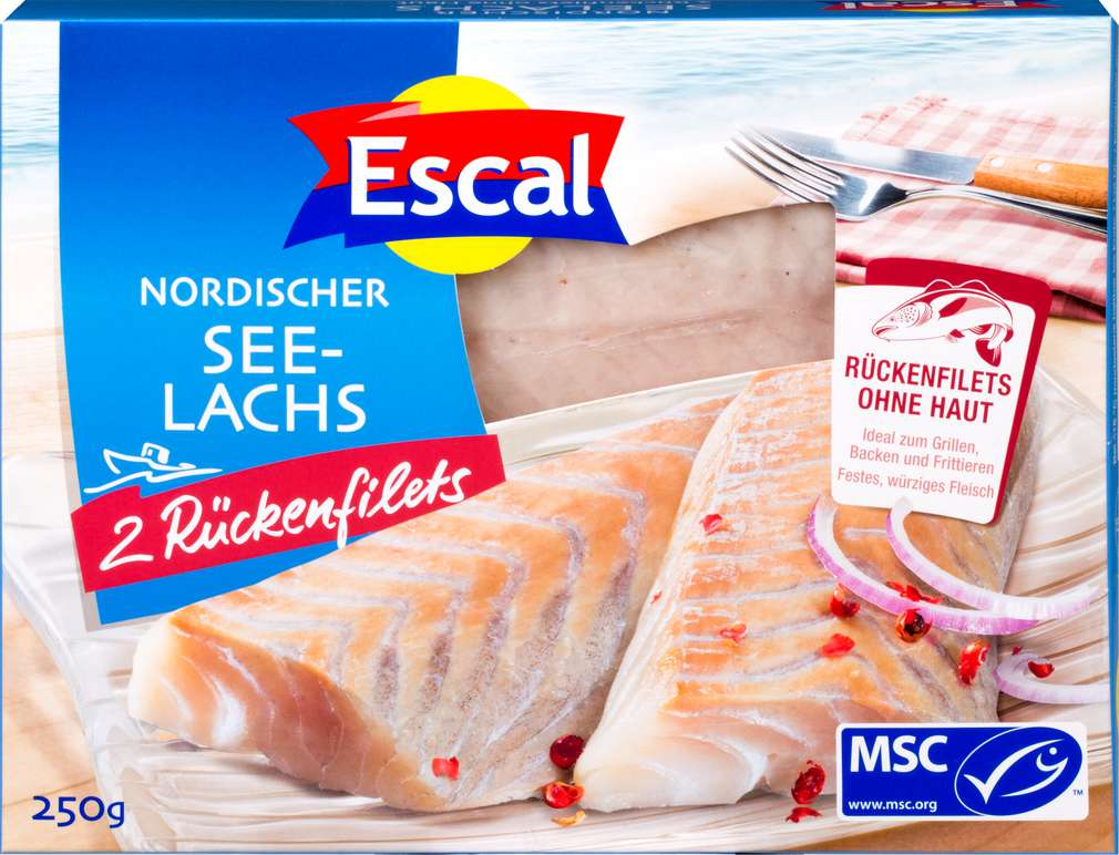 Abbildung des Sortimentsartikels Escal MSC-Seelachs- Filet ohne Haut 250g