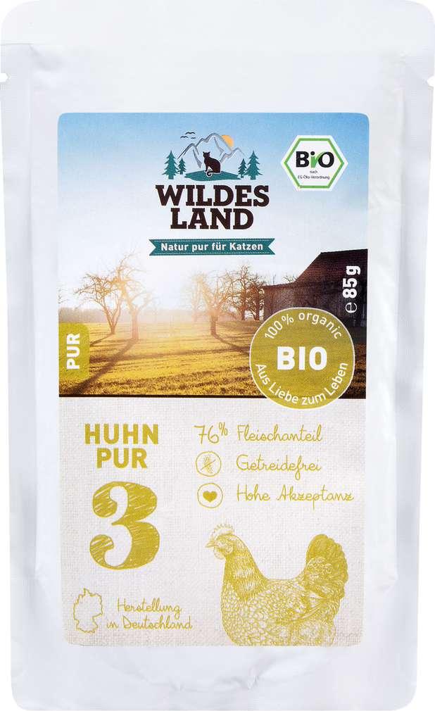 Abbildung des Sortimentsartikels Wildes Land Bio Huhn Pur 85g