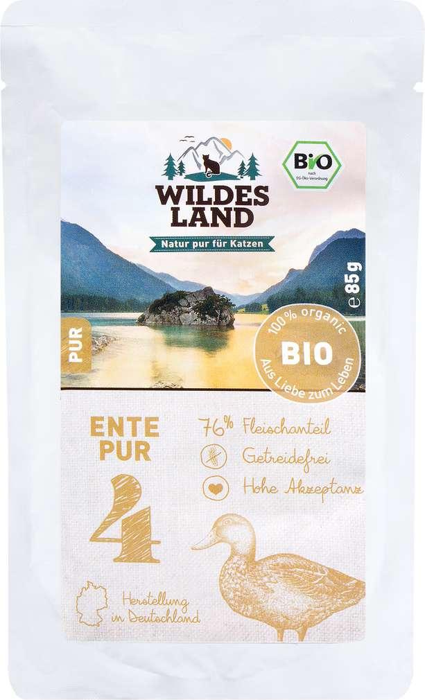 Abbildung des Sortimentsartikels Wildes Land Bio Ente Pur 85g