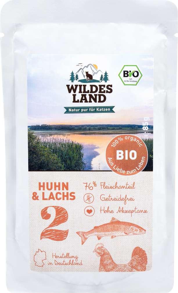 Abbildung des Sortimentsartikels Wildes Land Bio Huhn & Lachs 85g