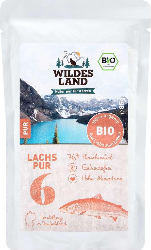 Abbildung des Sortimentsartikels Wildes Land Bio Lachs Pur 85g