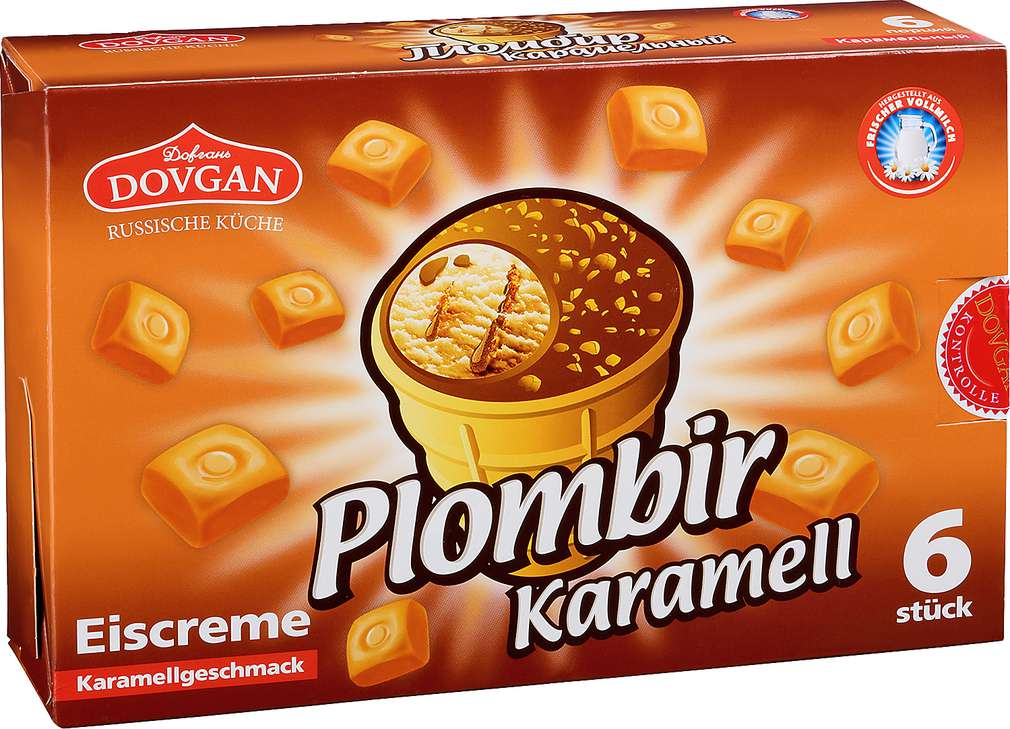 Abbildung des Sortimentsartikels Dovgan Plombir Karamell 6x120ml