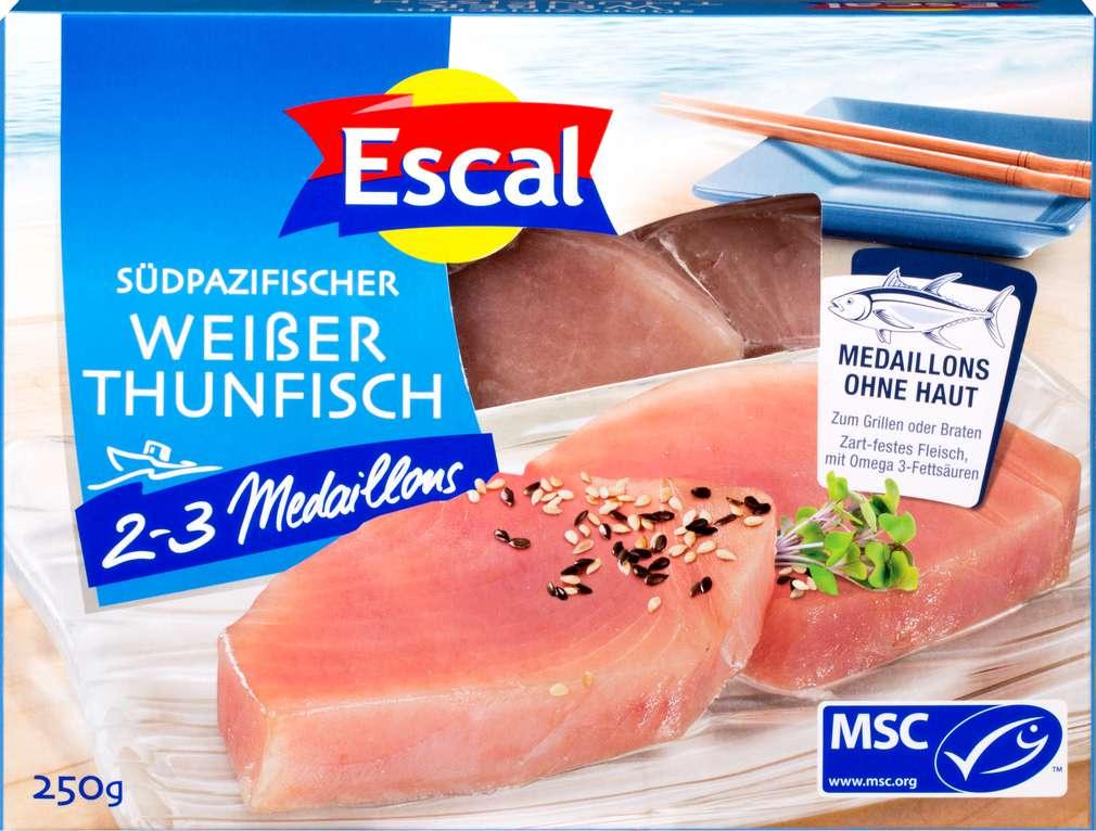 Abbildung des Sortimentsartikels Escal MSC-Weißes-Thunfisch Filet ohne Haut 250g