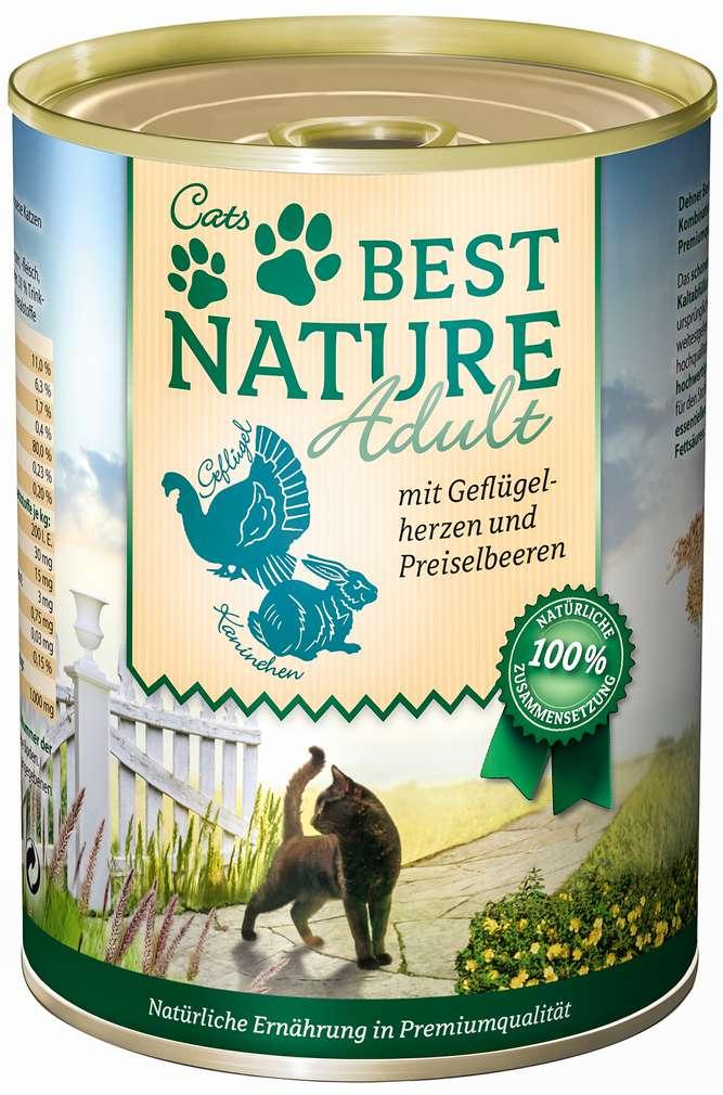 Abbildung des Sortimentsartikels Best Nature Katzennahrung Geflügelh./Kaninchen 400g