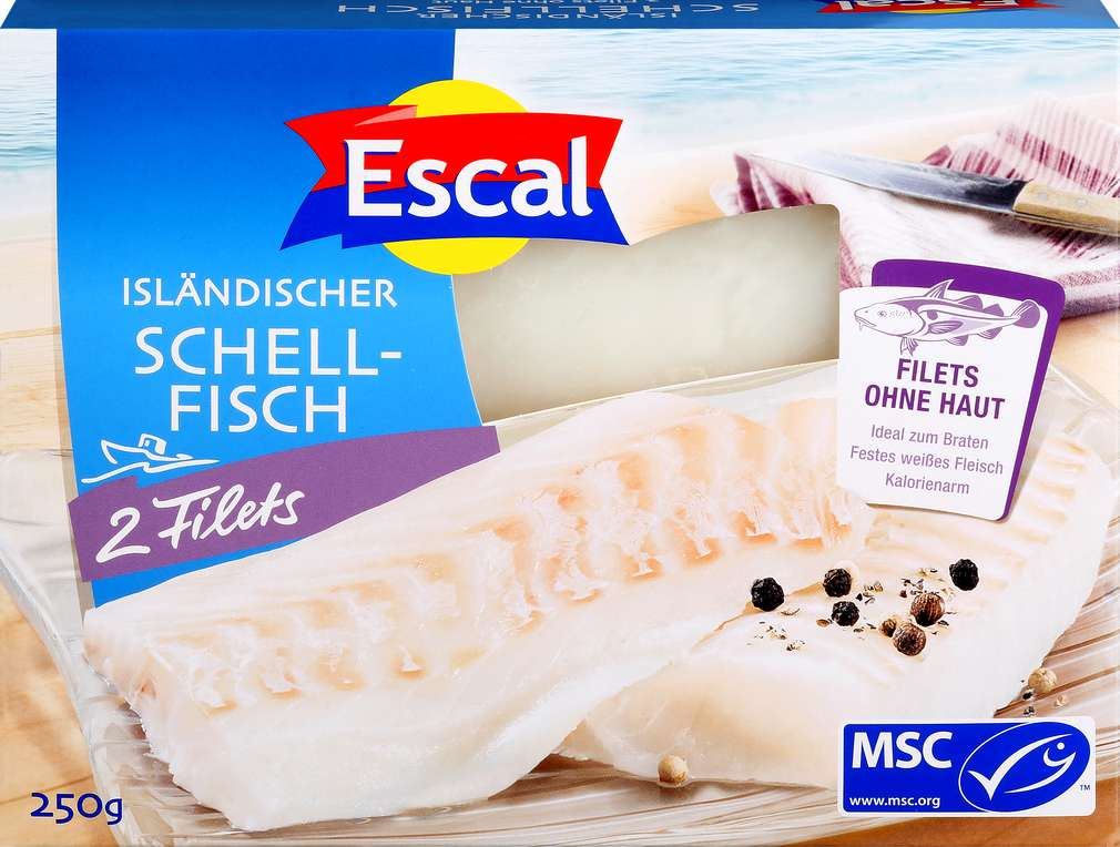 Abbildung des Sortimentsartikels Escal MSC-Schellfisch- Filet ohne Haut 250g