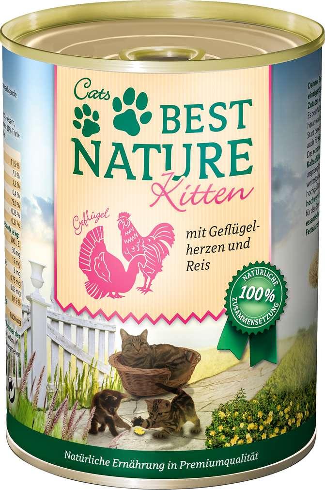 Abbildung des Sortimentsartikels Best Nature Kitten Katzennahrung Geflügelherzen 400g