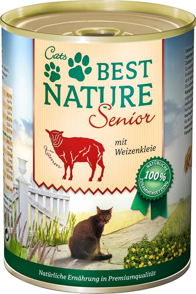 Abbildung des Sortimentsartikels Best Nature Senior Katzennahrung Lamm/Weizenkleie 400g