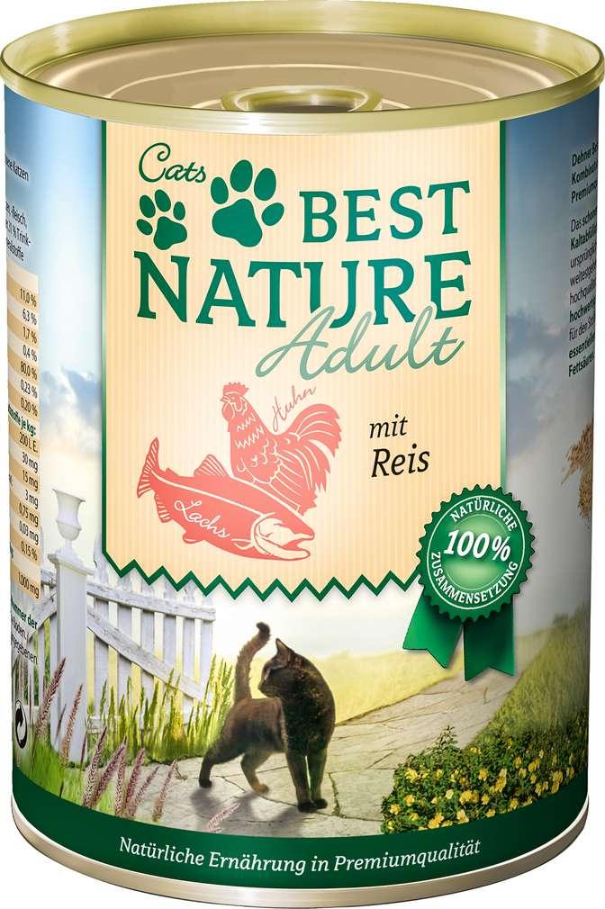 Abbildung des Sortimentsartikels Best Nature Katzennahrung Lachs/Huhn/Reis 400g