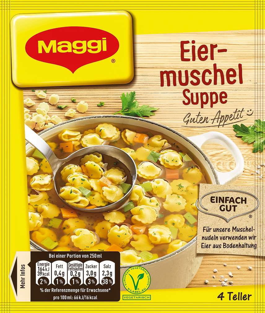 Abbildung des Sortimentsartikels Maggi Guten Appetit Suppe Eiermuscheln ergibt 1000ml