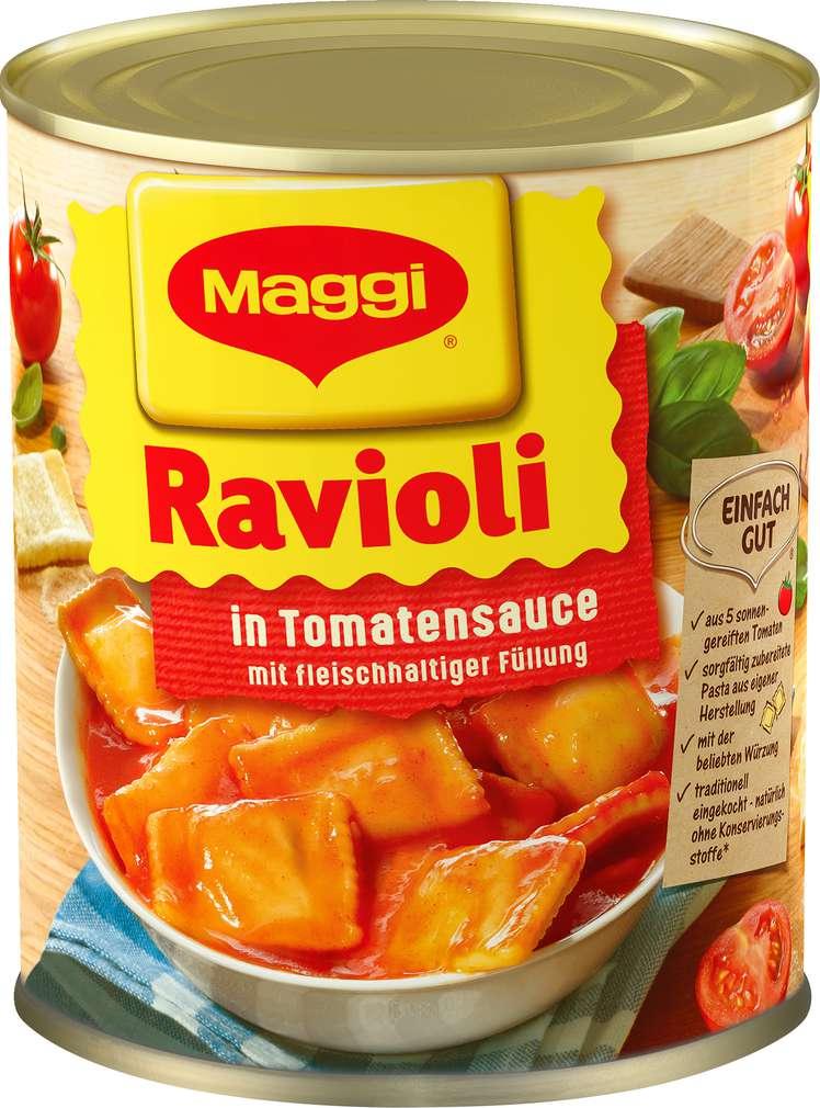 Abbildung des Sortimentsartikels Maggi Ravioli in Tomatensauce mit fleischhaltiger Füllung 800g