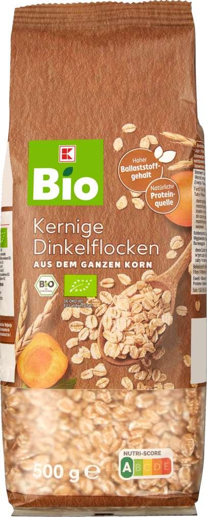 Abbildung des Sortimentsartikels K-Bio Vollkorn-Dinkelflocken 500g