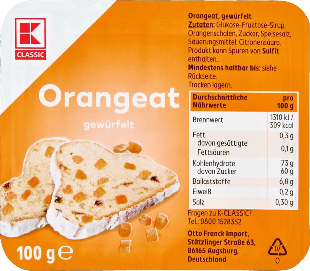 Abbildung des Sortimentsartikels K-Classic Orangeat gewürfelt 100g