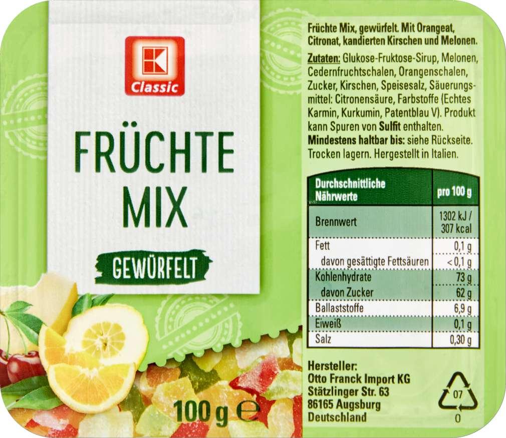 Abbildung des Sortimentsartikels K-Classic Früchte Mix gewürfelt 100g