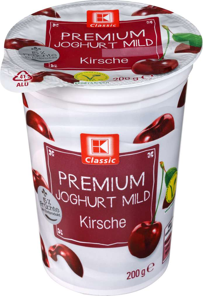 Abbildung des Sortimentsartikels K-Classic Premium Joghurt mild Kirsche 200g