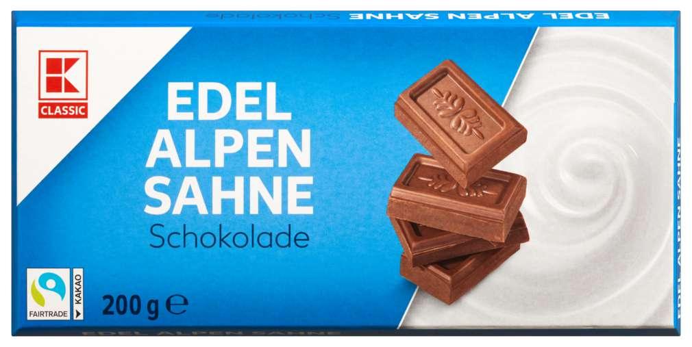 Abbildung des Sortimentsartikels K-Classic Edel Alpensahne Schokolade 200g