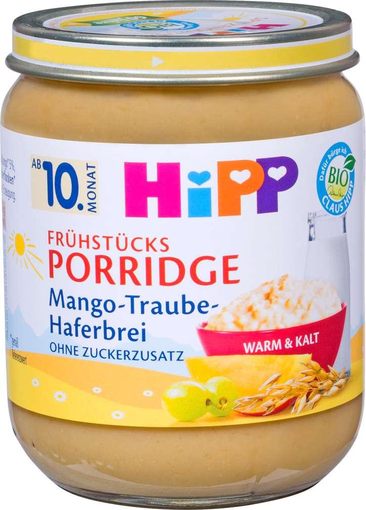 Abbildung des Sortimentsartikels Hipp Frühstücks Porridge Mango-Traube-Haferbrei 160g