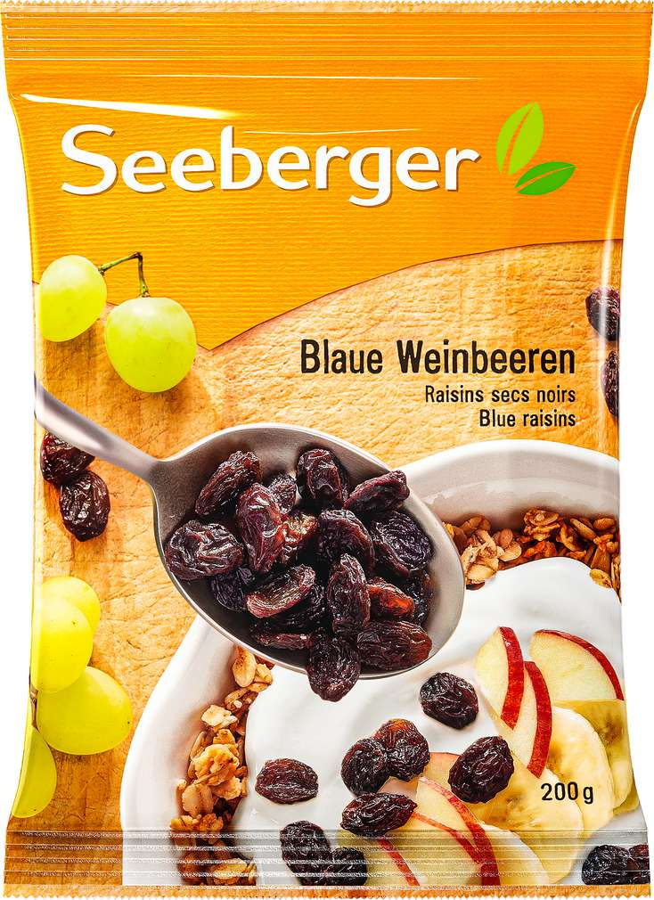 Abbildung des Sortimentsartikels Seeberger Blaue Weinbeeren 200g