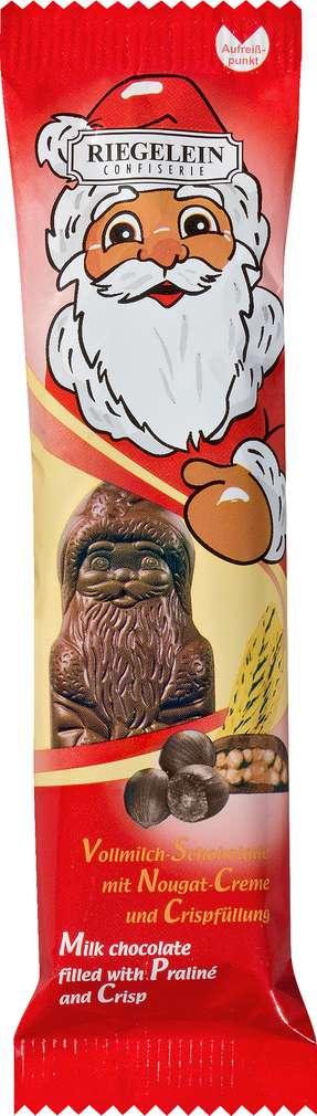 Abbildung des Sortimentsartikels Riegelein Weihnachtsmann Schokoriegel Nougat Creme und Crisp 50g