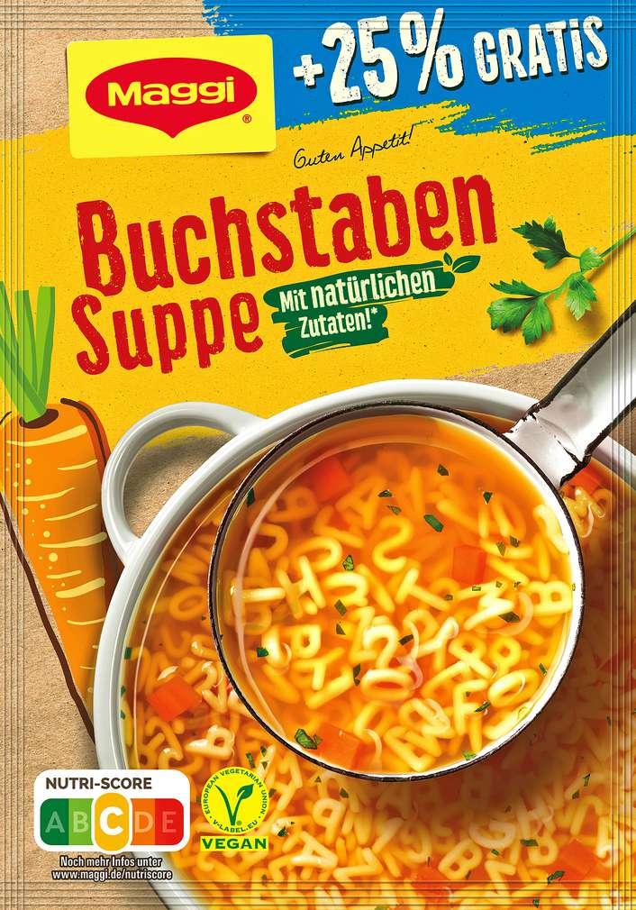 Abbildung des Sortimentsartikels Maggi Buchtaben Suppe +25% = ergibt 1250ml
