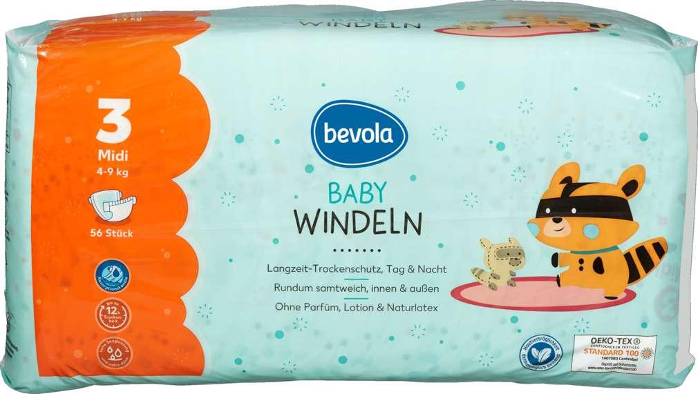 Abbildung des Sortimentsartikels Bevola Baby Windel Midi 56 Stück